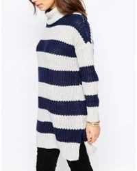 Noisy May Petite - Black Roll Neck Stripe Jumper Dress - Lyst