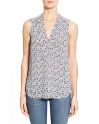 Halogen | White Notch Detail Sleeveless Blouse | Lyst