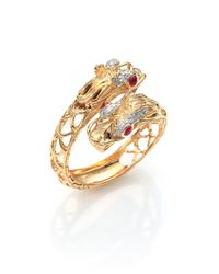 John Hardy | Metallic Naga Diamond, Ruby & 18k Yellow Gold Double-headed Dragon Ring | Lyst