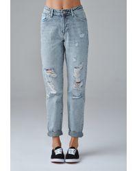 Forever 21   Blue Distressed Boyfriend Jeans   Lyst