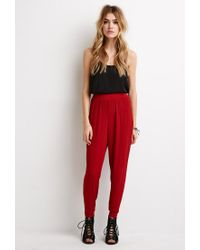 Forever 21 - Brown Crinkled Crepe Joggers - Lyst