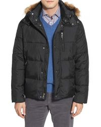 Cole Haan | Black Quilted Jacket With Removable Hood for Men | Lyst