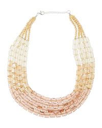 Panacea | Metallic Multi-strand Ombre Crystal Necklace | Lyst