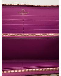 Valentino - Purple Rockstud Wallet - Lyst