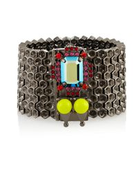 Mawi | Gray Hematiteplated Crystal and Bead Honeycomb Bracelet | Lyst