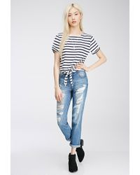 Forever 21 - Blue Tie-front Striped Tee - Lyst
