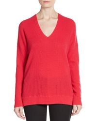 Vince | Red Oversized Ribbed Cashmere Sweater | Lyst