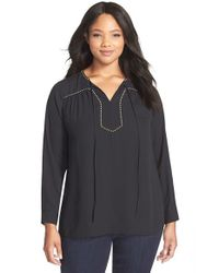 Vince Camuto - Black Studded Tie Neck Blouse - Lyst