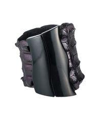 Nada Sawaya - Black J16 - Crocodile Cuff With Magnetic Closure - Metallic Bordo - Lyst