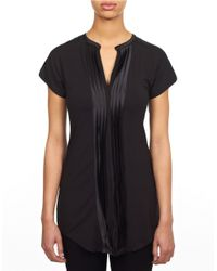 William Rast | Black Tuxedo Pleat Top | Lyst