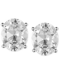 Anne Klein - Metallic Gold-tone Crystal Oval Stud Earrings - Lyst