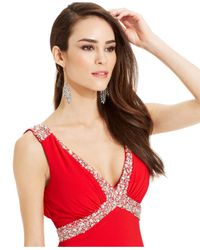 Betsy & Adam - Red Embellished Side-Slit Cowl-Back Gown - Lyst