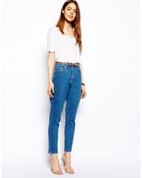 ASOS - Farleigh High Waist Slim Mom Jeans In Clean Mid Wash Blue - Lyst