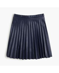 J.Crew | Blue Faux-leather Pleated Mini Skirt | Lyst