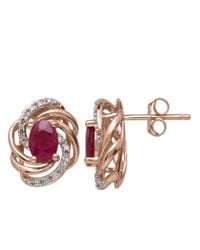 Lord & Taylor | Red Diamond And Ruby 14k Rose Gold Stud Earrings | Lyst