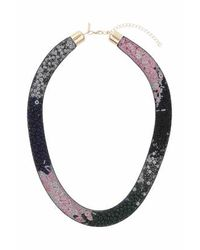 TOPSHOP - Pink Beaded Mesh Capped Necklace - Lyst