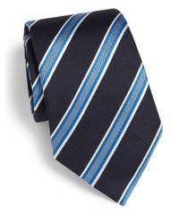 Armani | Blue Diagonal Stripe Shadow Silk Tie for Men | Lyst