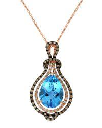 Effy | Lavender Rose 14kt. Rose Gold Brown Diamond And Blue Topaz Pendant Necklace | Lyst