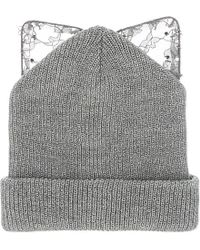 Silver Spoon Attire - Gray Bad Kitty Beanie Hat - Lyst
