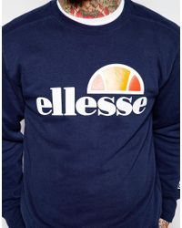 Ellesse - Blue Sweatshirt With Taping for Men - Lyst