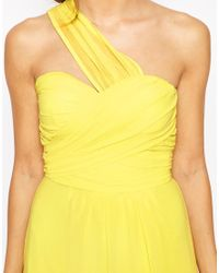 Elise Ryan - Yellow One Shoulder Waisted Maxi Dress - Lyst