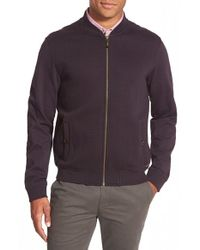 Ted Baker - Purple 'deeaz' Quilted Herringbone Knit Baseball Jacket for Men - Lyst