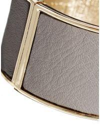 Tokyo Jane - Gray Rita Wide Leather Bracelet - Lyst