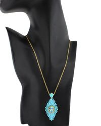Miguel Ases - Green Turquoise Geometric Pendant Necklace - Lyst