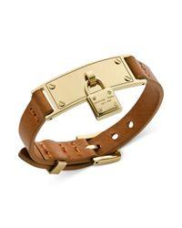 Michael Kors - Goldtone and Brown Leather Padlock Charm Adjustable Bracelet - Lyst