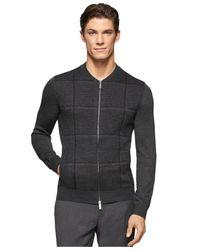 Calvin Klein - Gray Plaid Full-zip Sweater for Men - Lyst
