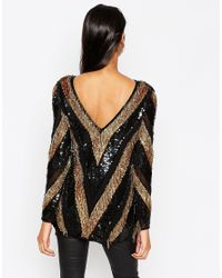 ASOS | Multicolor Long Sleeve Sequin Chevron Tunic | Lyst