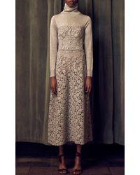 Katie Ermilio - Gray Strapless Lace Dress - Lyst