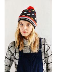 Urban Outfitters - Blue Kitschy Intarsia Pompom Beanie - Lyst