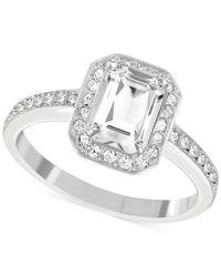 Swarovski | Metallic Rhodium-plated Rectangular Crystal Ring | Lyst