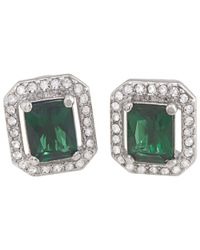 Carolee | Green Cushion Crystal Stud Earrings | Lyst
