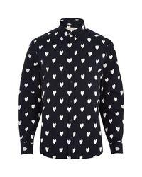 River Island - Blue Navy Ikat Heart Print Long Sleeve Shirt for Men - Lyst