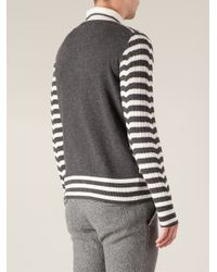 Side Slope - Gray Striped Cardigan for Men - Lyst