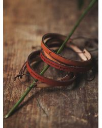 Free People - Brown All in A Word Leather Bracelet - Lyst