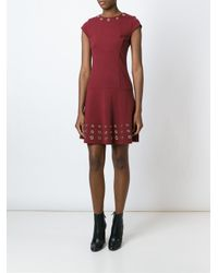 MICHAEL Michael Kors - Red Eyelet Embellished Dress - Lyst