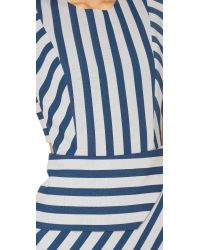 Michelle Mason | Blue Asymmetrical Stripe Dress | Lyst