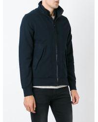 Stone Island | Blue Zipped Sweatshirt for Men | Lyst
