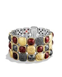 David Yurman | Metallic Chiclet Three-row Bracelet | Lyst
