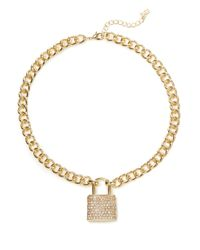 ABS By Allen Schwartz | Metallic Padlock Charm Necklace - 18 In. | Lyst