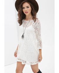 Forever 21 | Natural Floral Lace Shift Dress | Lyst