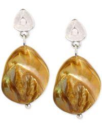Kenneth Cole | Yellow Silver-tone Organic Shell Bead Drop Earrings | Lyst