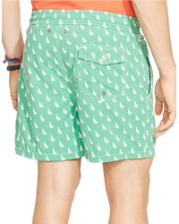 Polo Ralph Lauren | Green Traveler Sailboat-print Swim Short for Men | Lyst