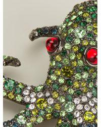 Kenneth Jay Lane | Metallic Gunmetal-plated Swarovski Crystal Brooch | Lyst