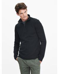 Banana Republic | Black Textured Half-zip Pullover for Men | Lyst