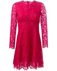 Valentino - Pink Long-Sleeved Lace Dress - Lyst