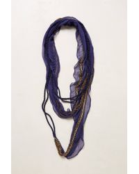 Anthropologie - Blue Beaded Manori Scarf Necklace - Lyst